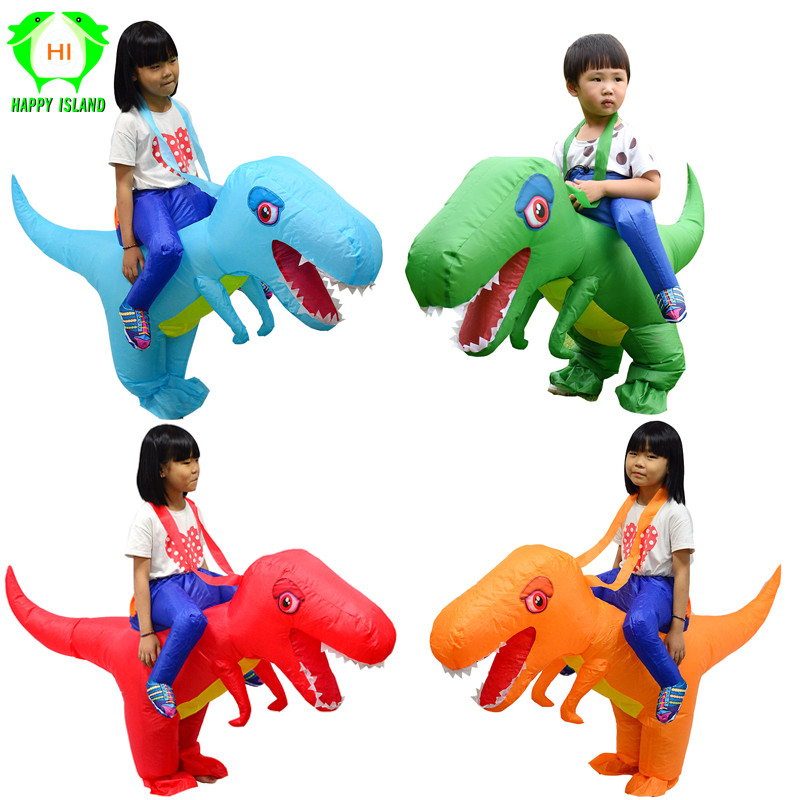 Ride Costume Inflatable Dinosaur T-Rex Fancy Dress Children Kids Halloween Costume Dragon Party Outfit Animal Themed Cosplay Boy