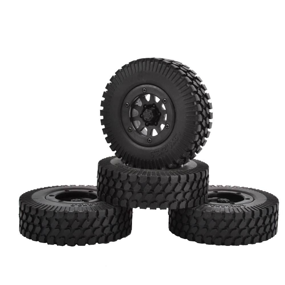 4PCS 1.9 Inch Plastic Beadlock Wheel Rim & Rubber Tires for 1/10 RC Crawler Truck Axial SCX10 TAMIYA CC01 RC4WD D90 D110 TF2 4pcs 1 10 scale rc climb car 1 9 beadlock crawler wheels rims for rc4wd scx10 cc01 alloy aluminum spoke wheel rim