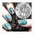 YZWLE NUEVOS Diseños de Plantillas Del Arte Del Clavo Polaco de Acero Inoxidable Redondo Placas Estampación Plantillas Del Arte Del Clavo de DIY Herramientas de Peinado