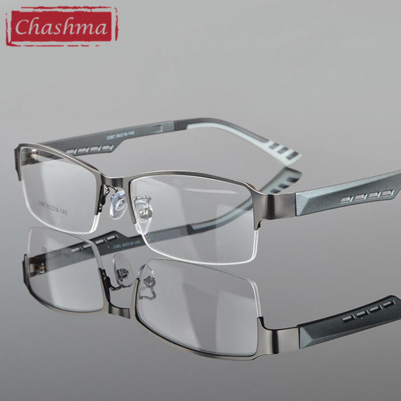 Chashma Men Eyewear Quality Half Rimmed Steel Frame TR 90 Arms Optical Glasses Frame Males Myopia Gafas de montura