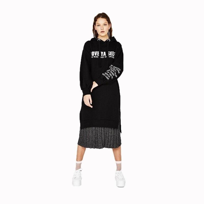 New Street Loose Alphabet Printed Dress 2018 Autumn New Money Sweater Sides Split Long Sleeve Halter Preppy Style