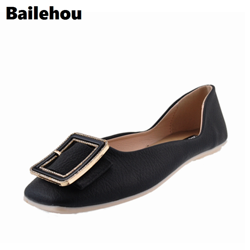 Bailehou Women Ballet Flats Shoes Square Toe Casual Flat Shoes Slip On Loafer Comfort Moccasins Spring Boat Metal Ballerina Flat beyarne spring summer women moccasins slip on women flats vintage shoes large size womens shoes flat pointed toe ladies shoes