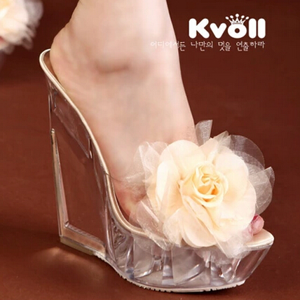ФОТО Women sandals, slippers new Kvoll women 2016 transparent super high heels shoes Wedges resin, in the form of female flower shoes