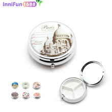1PCS Portable Metal Round Flower Print Organizer Cute Compartment Pill Case Divid Storage Tablet Container Medicine Box electronic digital compartment smart timing sealed pill case medicine box container tablet storage case circular reminder alarm