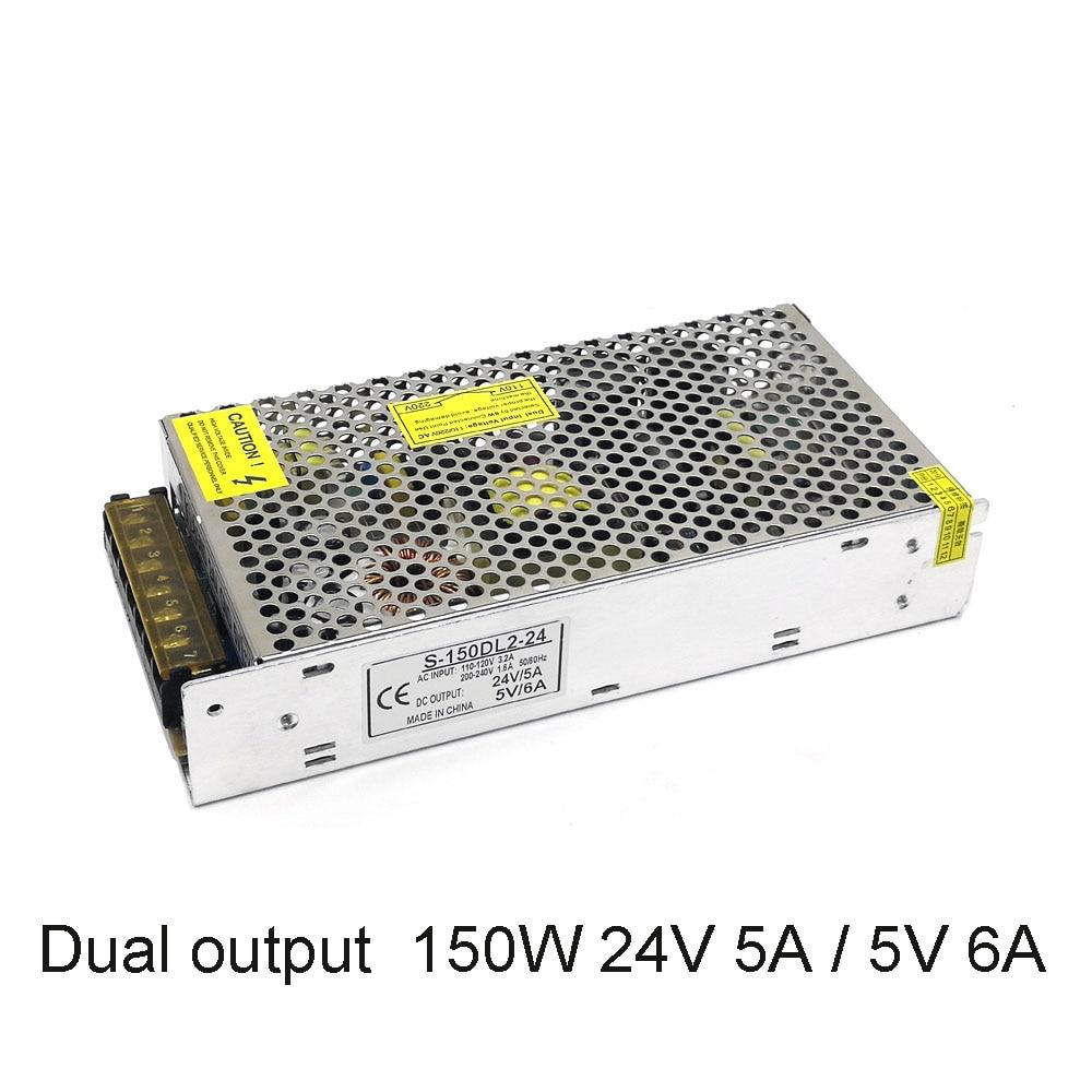 Dual Output 150W Regulated Switching Power Supply AC 110V 220V to 24V 5A & 5V 6A Constant voltage light transformer Led adapter