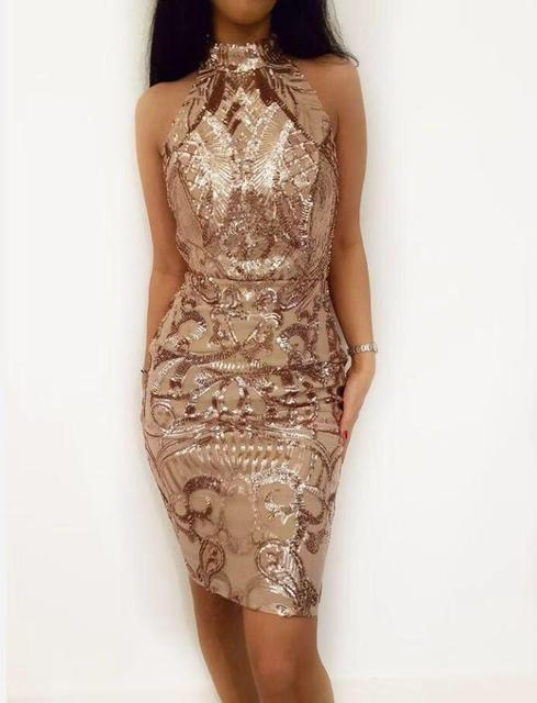 Missord 2019 Для женщин Сексуальная Холтер с плеча Геометрия ретро платья женский спинки Элегантный Bodycon Короткие вечерние платье FT18720