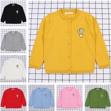 цены на 2019 Children Baby Sweaters Cactus embroidery Boys Sweaters Girls Sweaters Knit Kids Pullover Casual Boys Clothing 1-6 Years  в интернет-магазинах