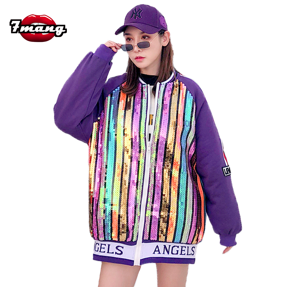 7mang 2018 winter women street loose long colorful sequins striped cotton padded coat thick zipper heavy cartoon printing   parka