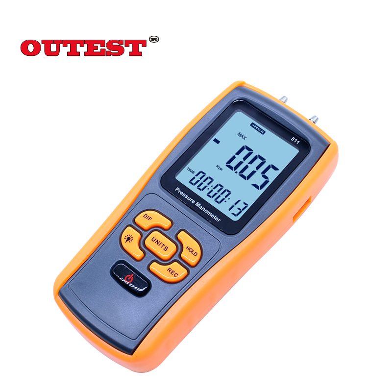 Digital Pressure manometer GM511 50KPa LCD display  yellow differential manometer pressure gauge portable digital lcd display pressure manometer gm510 50kpa pressure differential manometer pressure gauge