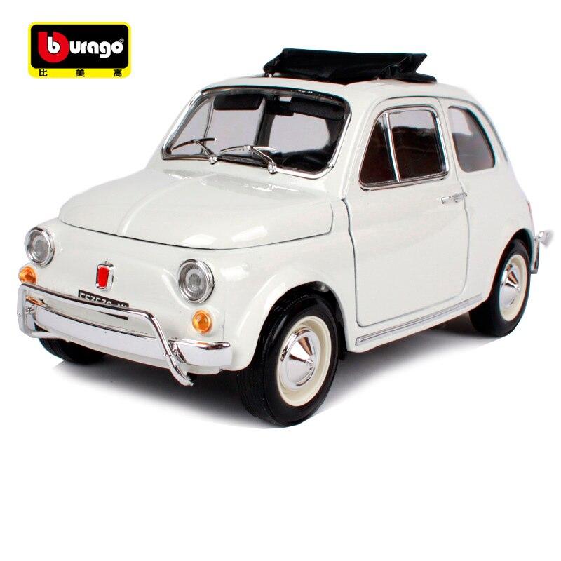 Bburago 1:18 1968 fiat 500l blanco vintage coche diecast Puertas Abiertas clásico mini coche modelo versión para recoger 12035-in Troquelado y vehículos de juguete from Juguetes y pasatiempos    1