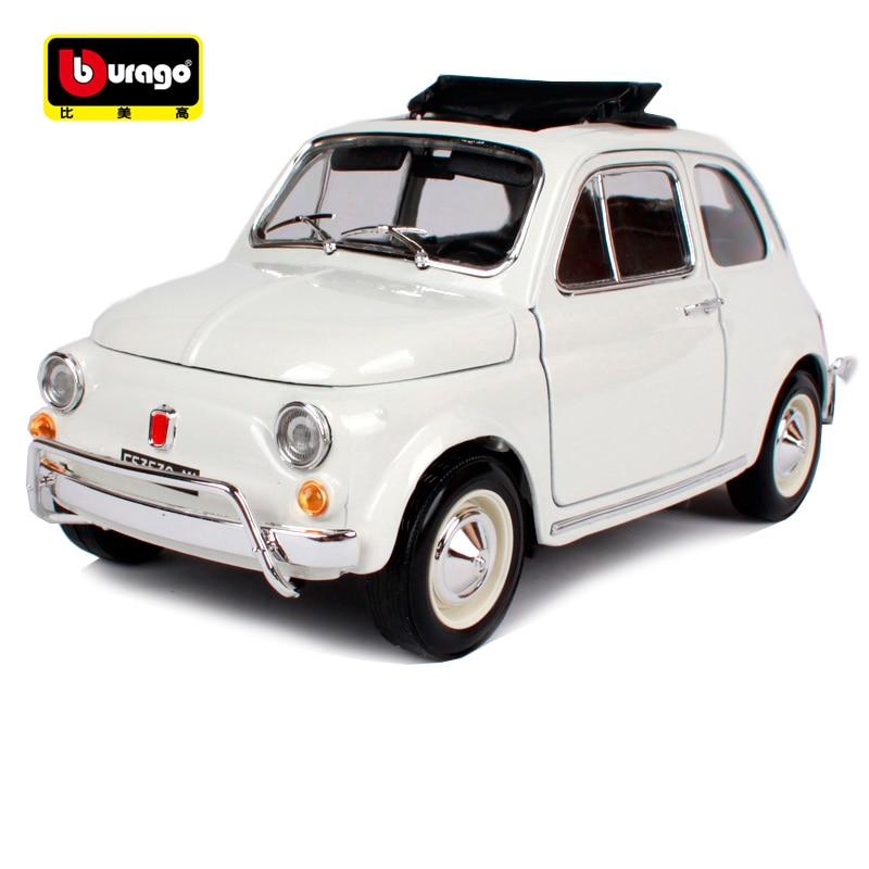 Bburago 1:18 1968 년 fiat 500l 흰색 빈티지 자동차 다이 - 장난감 차량