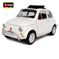 Bburago 1:18 1968 fiat 500l white vintage car diecast open doors classic mini car model motorcar version for collecting 12035