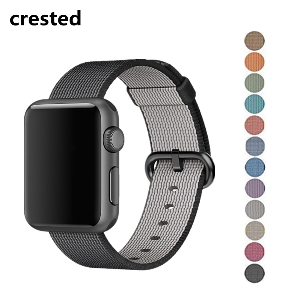 CRESTED Sport nylon band for apple watch 3 42mm 38mm iwatch 3 2 1 wrist band bracelet belt Woven Nylon fabric-like watchband band for apple watch pink stripes woven nylon fabric buckle watchband 38mm 42mm sport strap for iwatch 2 watches accessories
