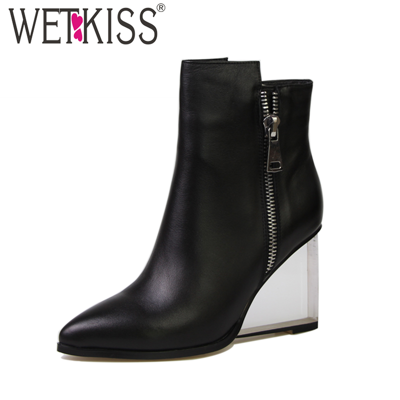 WETKISS Size 33-42 Fashion Transparent Wedges Heels Ankle Boots Women Genuine Leather Pointed toe Zip Female Boot Shoes Woman