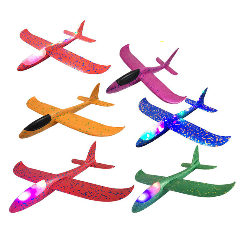 48cm Big Foam Plane Aircraft LED Hand Launch Throwing Airplane Glider Inertial Foam EPP Toy Children Plane Model Toys 48cm foam plane glider aircraft airplane model led night hand throw flying glider epp toy for children