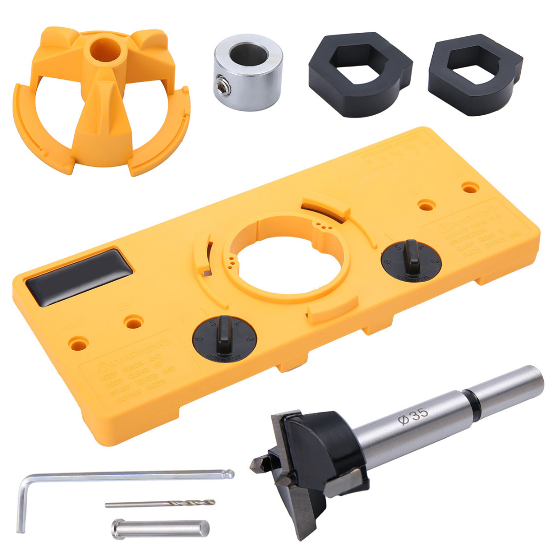 цена на Mayitr 35MM Cup Style Hinge Jig Boring Door Hole Locator Drill Guide + Bit Wood Cutter Carpenter Woodworking DIY Tools