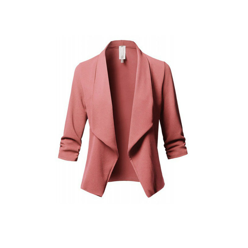 Spring Summer 2020 Women Suit Jacket Long Sleeve Pleated Slim Blazer Ladies Top Solid Coat Plus Size 3xl 5xl Women's Office Wear