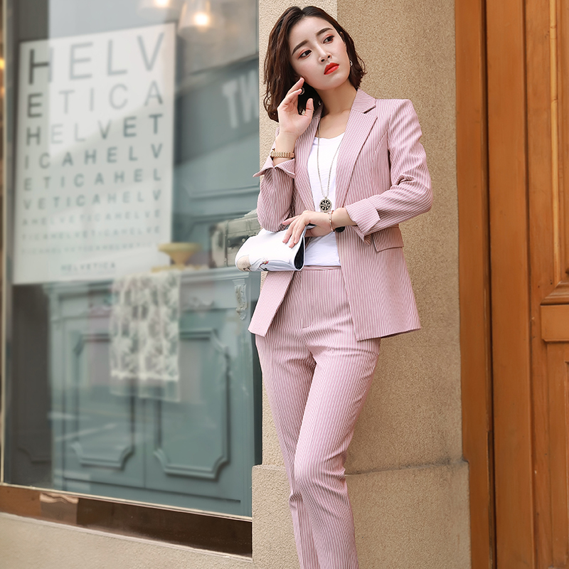 laest technology quality large discount ACRMRAC Women suits Long sleeve Slim Striped jacket shorts ...