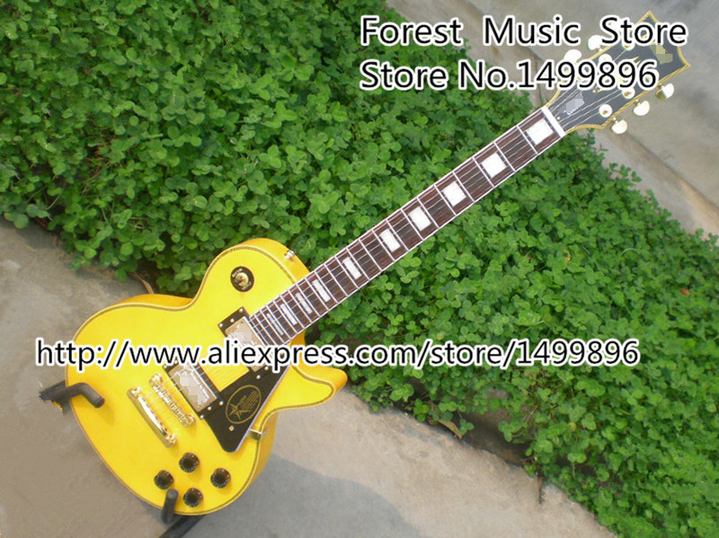 Randy Rhoads Signature Yellow LP Custom Electric Guitars China OEM Left Handed Guitar Available epiphone ltd matt heafy signature les paul custom ebony