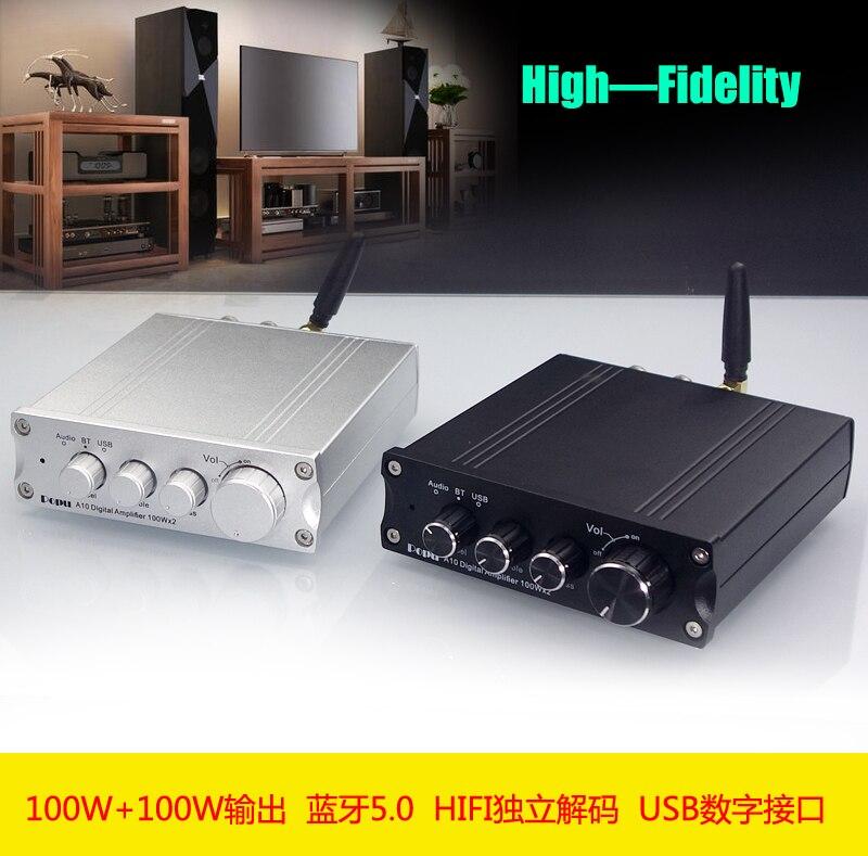 2019 neue POPU A10 HiFi 2,0 Volle Digitale Audio Power Verstärker 100 W Bluetooth 5,0 Unabhängige Decode Usb-schnittstelle Dual TPA3116