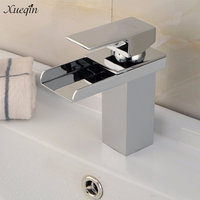 Xueqin Modern Brass Chrome Mixer Tap Waterfall Kitchen Bathroom Basin Sink Faucet Holes With Stainless Steel Pipe