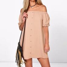 فستان قصير للشاطئ بدون أكتاف بأزرار أمامية