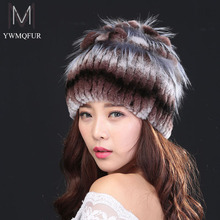 Sale 2016 winter beanies fur hat for women knitted 100% rex rabbit fur hat with fox fur flower top free size casual women's hat