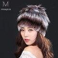 Venda 2016 gorros de inverno chapéu de pele de malha para mulheres 100% coelho rex chapéu de pele com pele de raposa chapéu flor top tamanho livre das mulheres casuais
