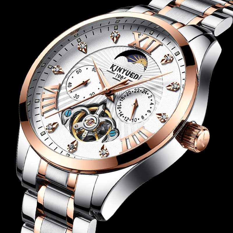 KINYUED Business Mens Automatic Mechanical Watches Tourbillon Top Brand Sun Moon Watch Stainless Steel Fashion Relogio MasculinoKINYUED Business Mens Automatic Mechanical Watches Tourbillon Top Brand Sun Moon Watch Stainless Steel Fashion Relogio Masculino