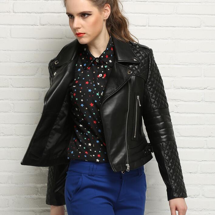 Fashion spring and autumn clothing sheepskin coats womens genuine   leather   jacket women jaqueta de couro turn-down collar black