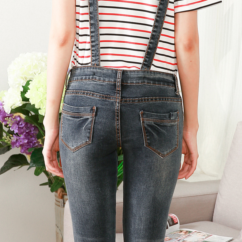 ab2fcfad7918 2017 Women Jumpsuit Slim Pockets Girls Jeans Rompers Ladies Straps Scratch  Denim Jumpsuits Overall Sexy Femme Pencil Pants 2017. Shipping