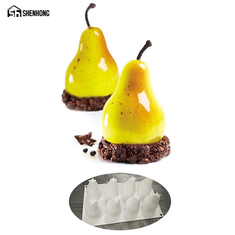 SHENHONG Pear Mousse Mould Art Cake Mold Baking Dessert Silicone 3D Silikonowe Moule Chocolate Pan Pastry