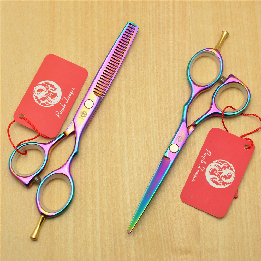 5.5 16cm Purple Dragon 440C Purple Colour Professional Human Hair Scissors Hairdressing Cutting Shears Thinning Scissors Z1014
