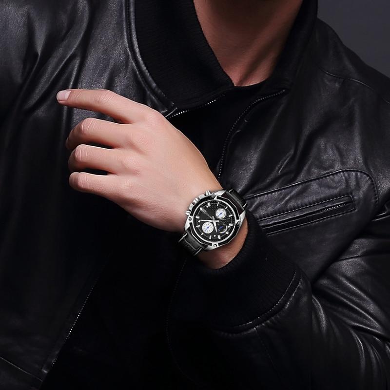 Image 5 - MEGIR Official Quartz Men Watches Fashion Genuine Leather Chronograph Watch Clock for Gentle Men Male Students Reloj Hombre 2015-in Quartz Watches from Watches
