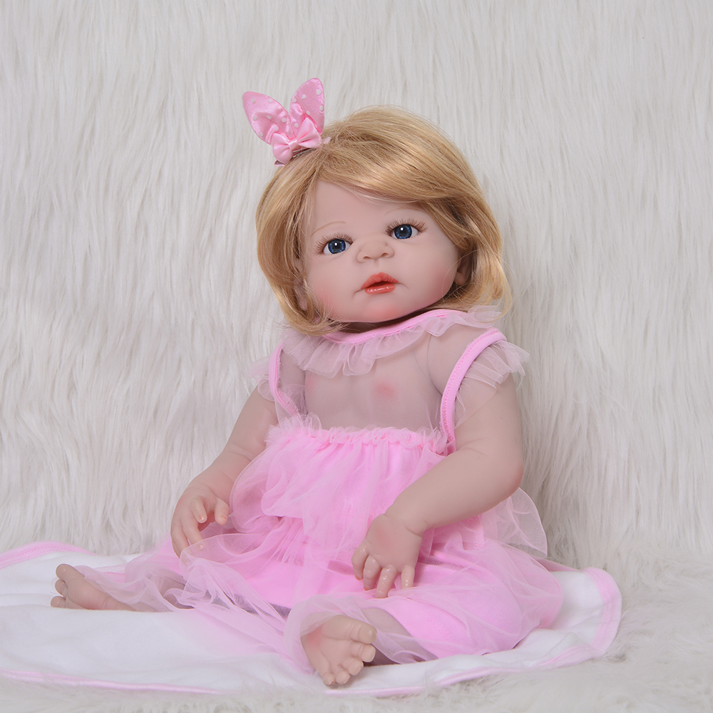 Wholesale Girl Toys 23 Inch 57 cm Full Silicone Vinyl Reborn Baby Doll Realista Bebe Reborn For Cute Children Birthday Gift 16 inch silicone reborn babies reborn doll cute full silicone baby doll for children girl birthday gift