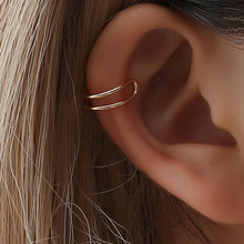 Korean version of the earless ear clip simple personality alloy double C cartilage earrings U female ring nose lip