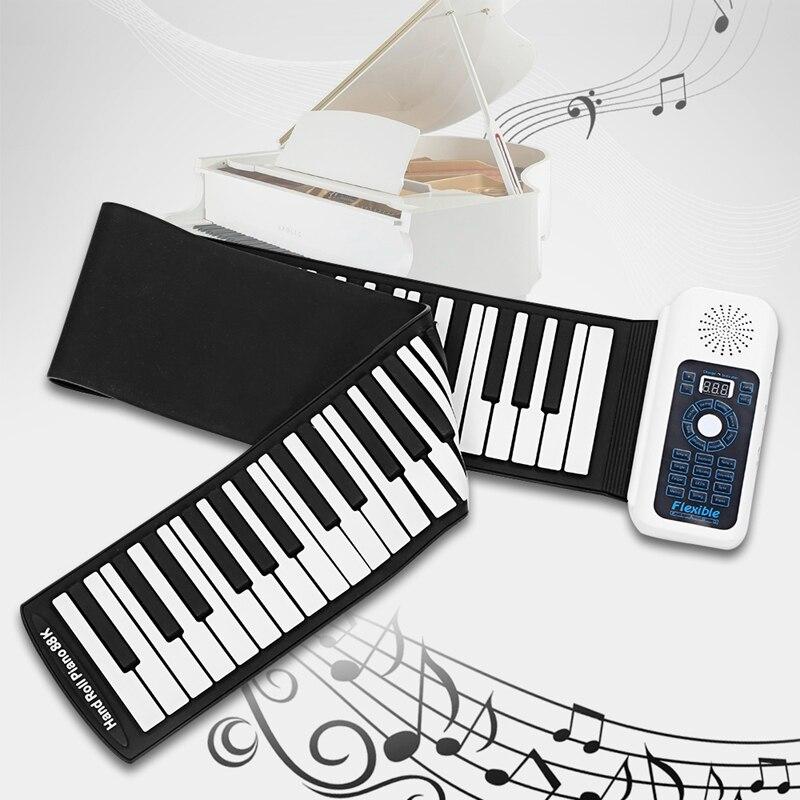 Nouveau 88 touches universel Flexible retrousser clavier souple Piano pour les joueurs de guitare