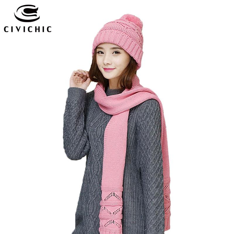CIVICHIC Outono Inverno Malha Conjunto Chapéu Cachecol Estilo Coreano Quente  Escavar Crochê Xale Pompom Gorros Sólidos 6 Cores Headwear SH157 6681df52eb0