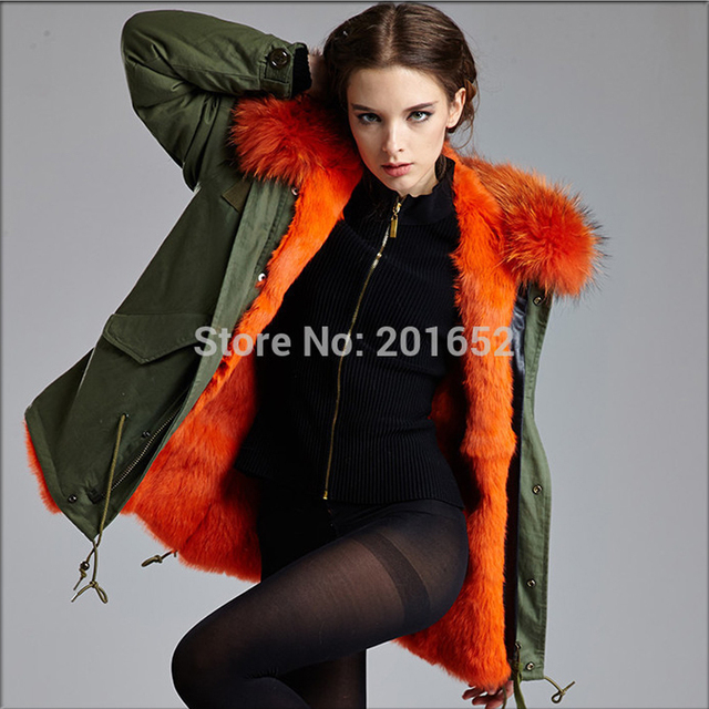 winter jacket women coats thick new 2014 real fur Coats for women Army Green outwear XXL Plus size