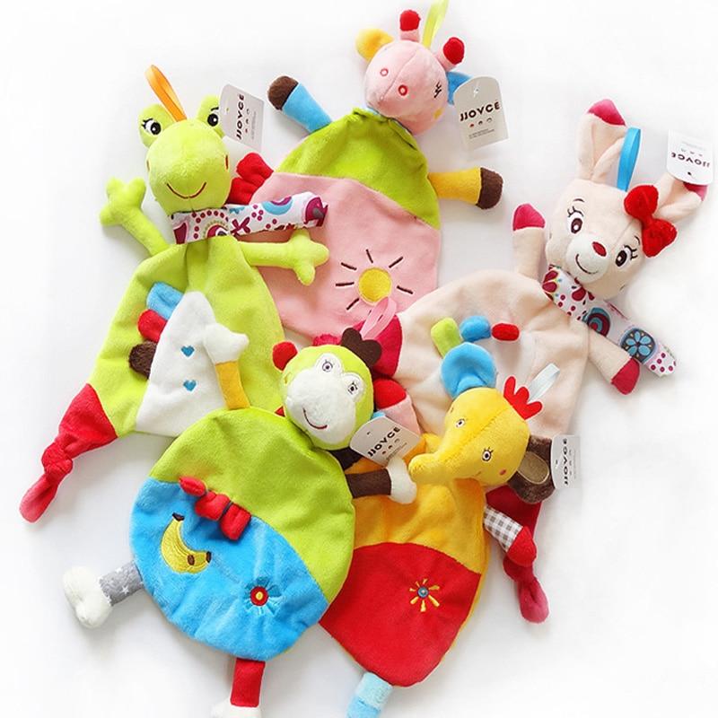 JJOVCE 5style Baby Soft Towel Donkey Rabbit Frog Monkey Elephant Comfort Appease Plush Rattles Toy For Newborn Gift