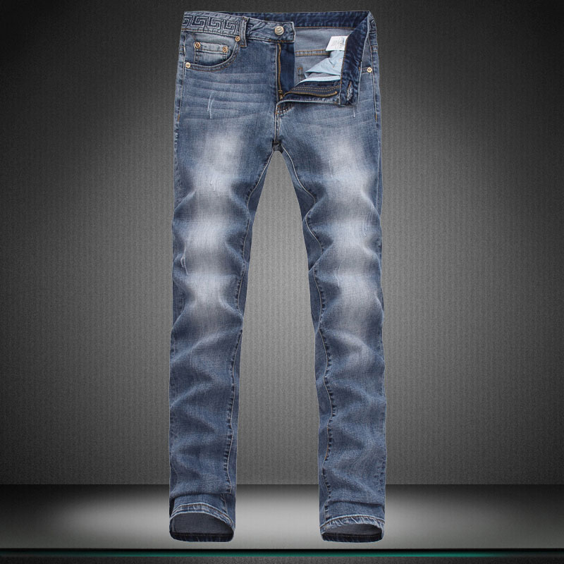 stretch Light blue men jeans man contracted Show thin Little feet pants designer brand pants trousers