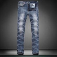 Стретч-Светло-голубой мужчин джинсы мужчина контракт Показать тонкие ножки брюки дизайнерский бренд брюки брюки прямые мальчик джинсы