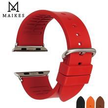 MAIKES Fluoro rubber Strap For Apple Watch Bands 44mm 42mm Apple Watch Bracelet 40mm 38mm Series 4 3 2 iWatch Watchband цена и фото