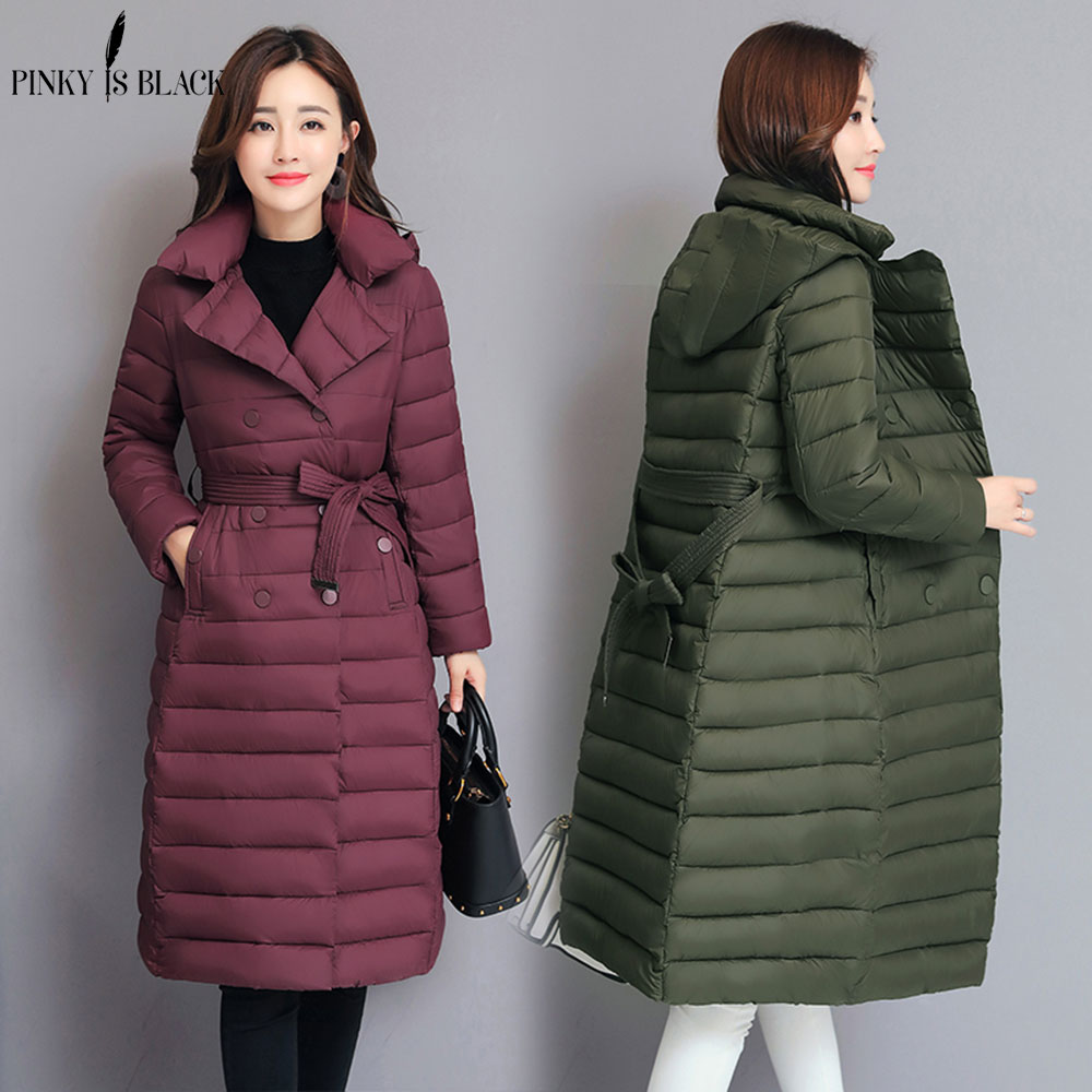 PinkyIsBlack Winter Jacket Women 2018 New Autumn Winter Coat Women Jacket Long Hooded   Parkas   Outerwear Winter Jacket Female Coat