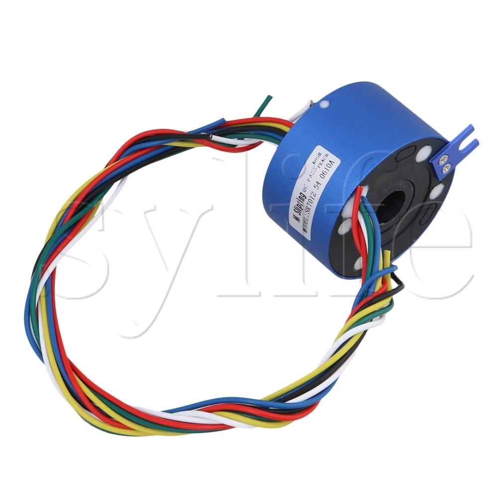 Blue 6 Wires 12.7MM Diameter 380V 10A Metal Via Hole Capsule Slip Ring