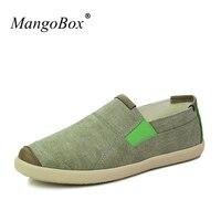 2018 New Trend Mens Flat Shoes Casual Slip On Mens Low Top Footwear Green Brown Mlae