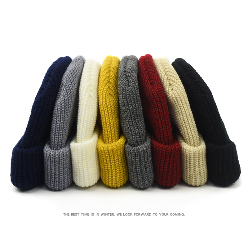 Men Knitted Hat Beanie Skullcap Sailor Cap Cuff Brimless Retro Navy Style Beanie Hat TT@88 2