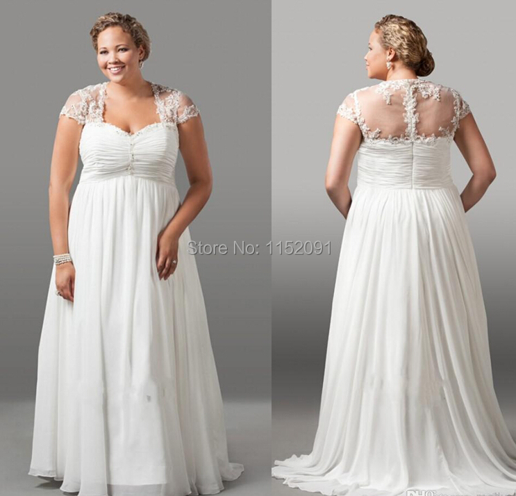 Aliexpress Buy 2016 Vintage Plus Size Wedding Dresses With Short Sleeve A Line Chiffon
