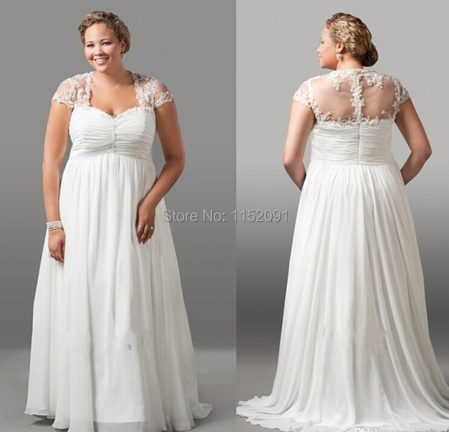 Buy 2016 Vintage Plus Size Wedding Dresses With Short Sleeve