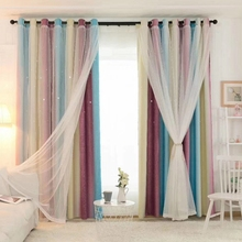 Hollowed Out Stars Blackout Curtain Double-Layer Shading Window Drapes Gauze tulle curtain for Living Room Princess Kid